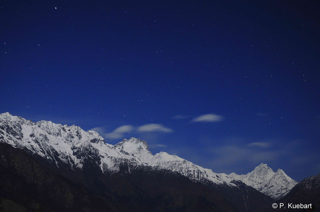 Ganesh Himal in moonlight
